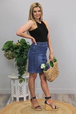 Burraneer Drawstring Knee Skirt - Dark Denim