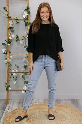 Chenille Oversize S/S Knit Jumper - Black
