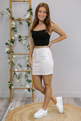 Wanda Denim Mini Skirt - White