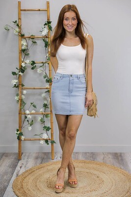 Wanda Denim Mini Skirt - Light Denim
