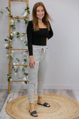 Marty Sweatpant - White/Black Stripe