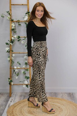Shirley Shirred Waist Pant - Tan Cheetah
