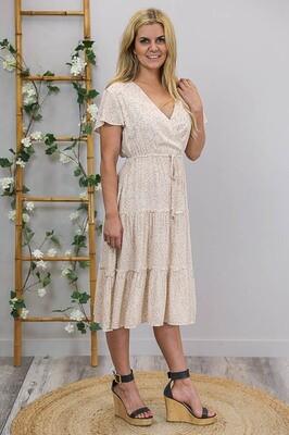 Isla Crossover Frill S/S Midi Dress - Latte/White Floral