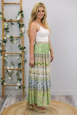 Hyawatha Maxi Skirt - Apple Green/Garden