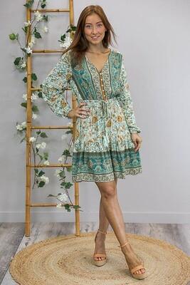Charlotte L/S BoHo Tassel Miniish Dress - Light Teal/Caramel Fleur
