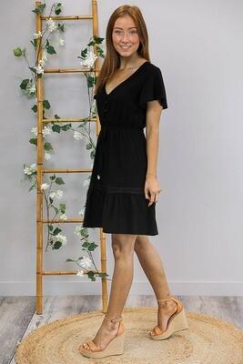 Robin Lace Trim Mini Dress - Black