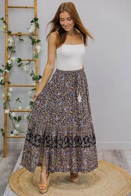 Hyawatha Maxi Skirt - Navy/Blue Fleur