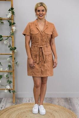 Nala Chambray Shirt Dress - Rust