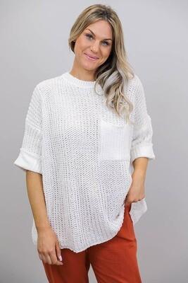Chenille Oversize S/S Knit Jumper - White