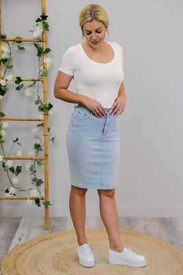 Wanda Denim Midi Skirt - Light Denim