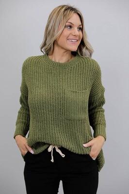 Chenille Oversize L/S Knit Jumper - Khaki