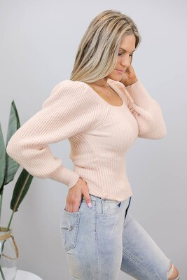 Gondola Puff Sleeve On/Off Shoulder Jumper - Blush