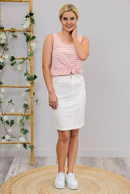 Wanda Denim Midi Skirt - White