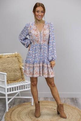 Chateau L/S BoHo Mini Dress - White/Blue/Tan Fleur