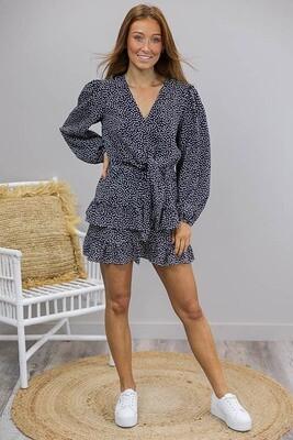 Fruity L/S Frill Mini Dress - Navy/White Tear