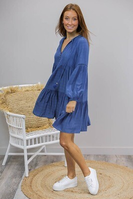 Positana L/S BoHo Miniish Dress - Cobalt Blue