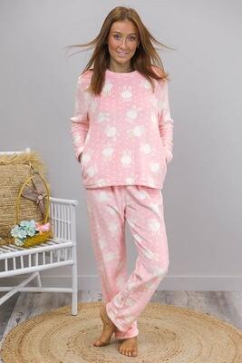 Twozee Fluff PJ Set - Pink/White Bunny
