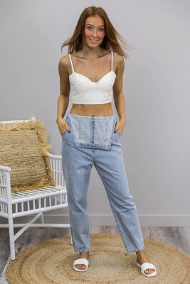 Born Free Crop Singlet Top - White Faux Leather