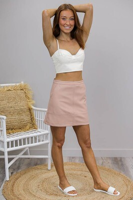 Chopper PU Mini Skirt - Blush Faux Leather