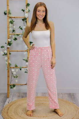 Fifi Fluff PJ Bottoms - Pink/White Hearts