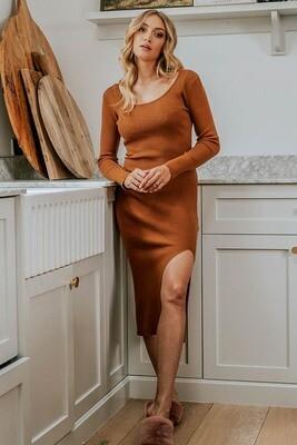 Joy L/S Rib Knit Midi Dress - Choc Rust