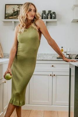Happy S/L Rib Knit Midi Dress - Khaki