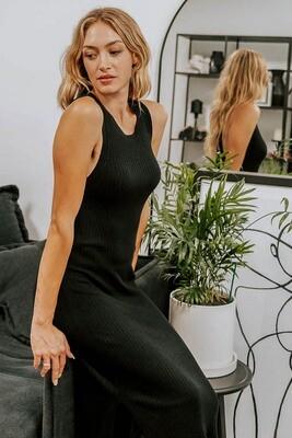 Happy S/L Rib Knit Midi Dress - Black