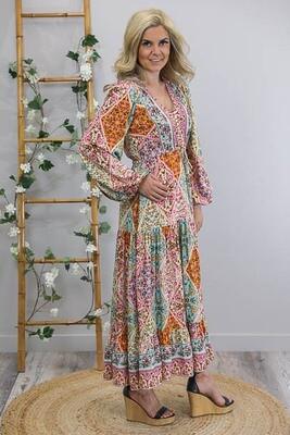 Chateau L/S BoHo Maxi Dress - Rainbow Multi