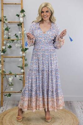 Clarice Shirred L/S Maxi Dress - Blue/Tan Fleur