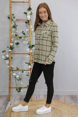 Flanno Shirt - Olive/Peach Stripe