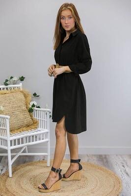 Novi Mini Shirt Dress - Black