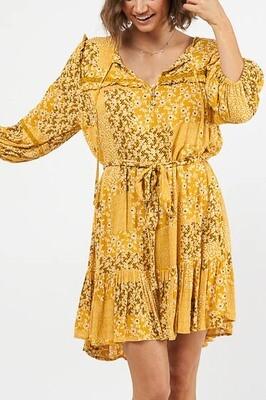 Jabber Detail Tier Miniish Dress - Mustard/White Fleur