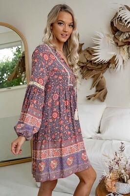 Cheska L/S BoHo Tassel Miniish Dress -Mauve/Pink Floral