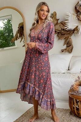 Jana L/S High/Low Midi Dress - Mauve/Pink Fleur