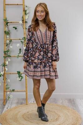 Chateau L/S BoHo Mini Dress - Black/Blue/Rust Floral