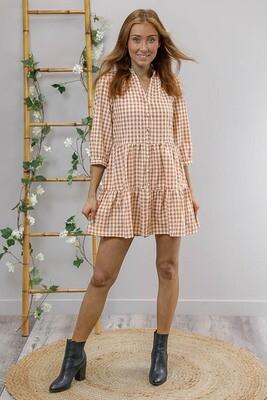 Cheeky Gingham Mini Dress - Mocha/Cream