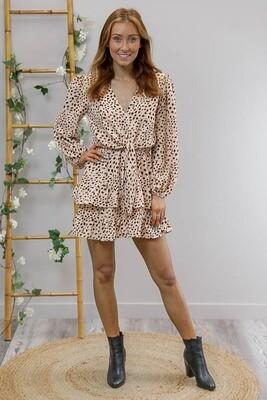 Fruity L/S Frill Mini Dress - Mocha/Black Leo