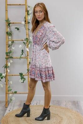 Chateau L/S BoHo Mini Dress - White/Pink/Blue Fleur
