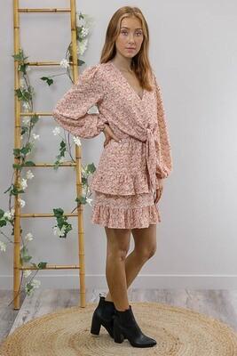 Fruity L/S Frill Mini Dress - Blush Petite Fleur