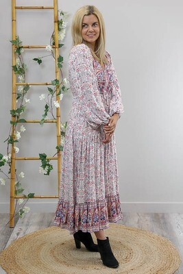 Chateau L/S BoHo Maxi Dress - White/Pink/Blue Fleur