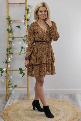 Sheila Tier L/S Miniish Dress - Caramel/Choc Leo