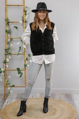 Camilla Button Vest - Black