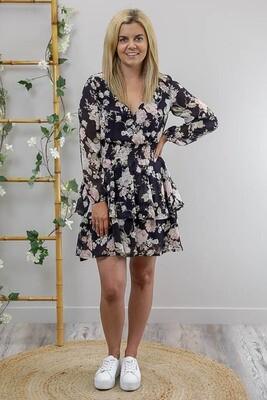 Sheila Tier L/S Miniish Dress - Navy/Multi Posie