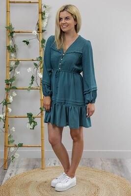 Porsha L/S Miniish Dress - Teal