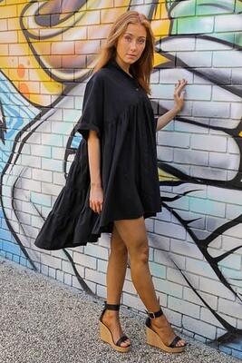 Bessie Button Miniish Dress - Black