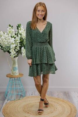 Sheila Tier L/S Miniish Dress - Jade/Black Leo