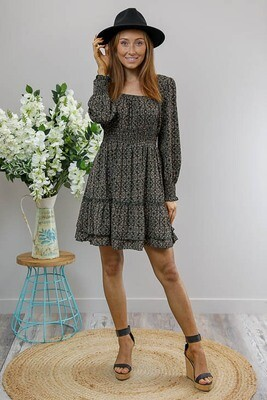 Pamela L/S Miniish Dress - Black