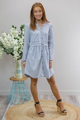 Sarafina Long Sleeve Chambray Dress - Light Denim