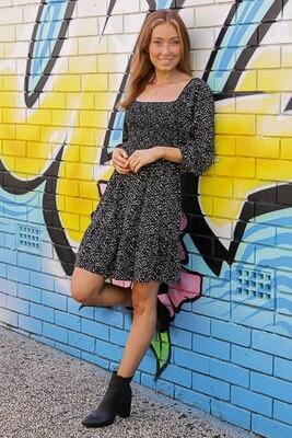 Kelly Shirred L/S Miniish Dress - Black
