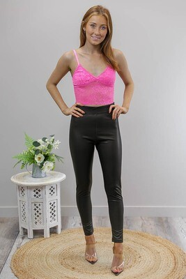 Liora PU Leather Look Leggings - Black